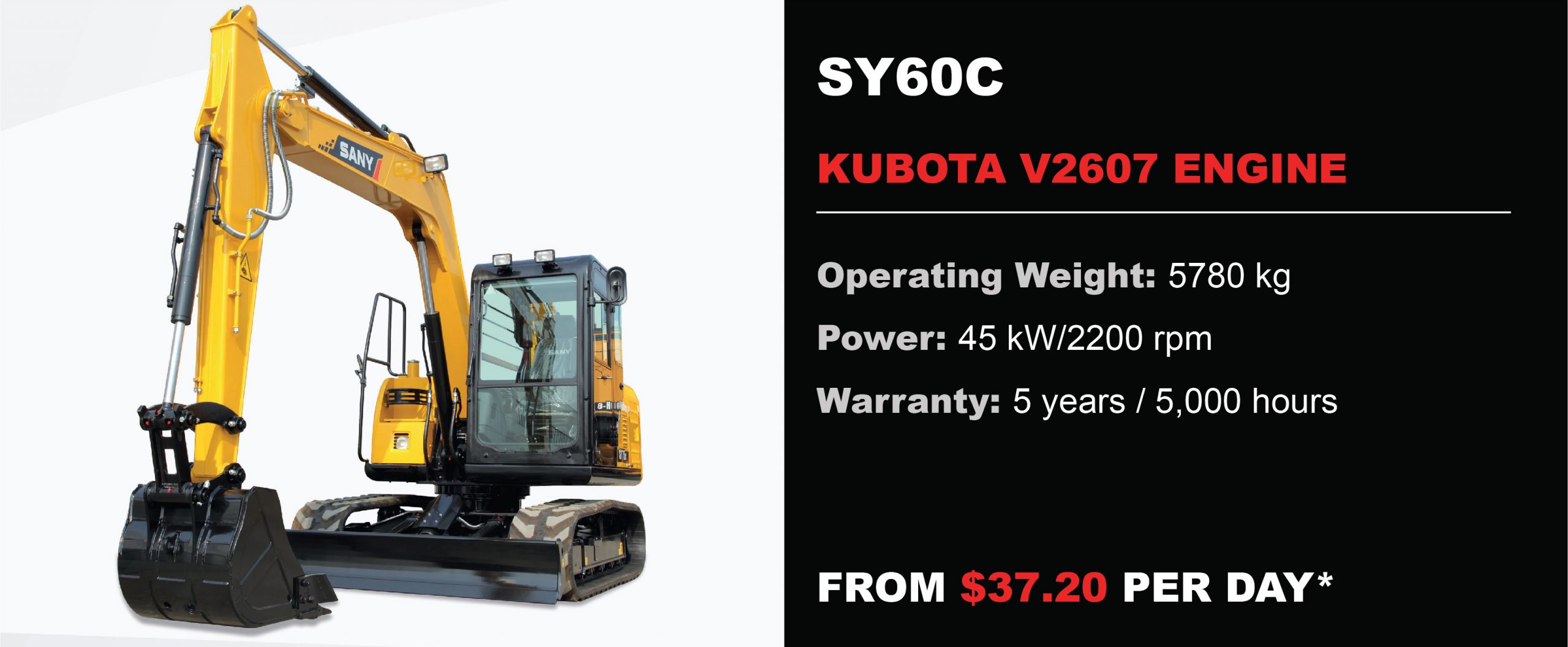 Sany excavator for sale Perth SY60C