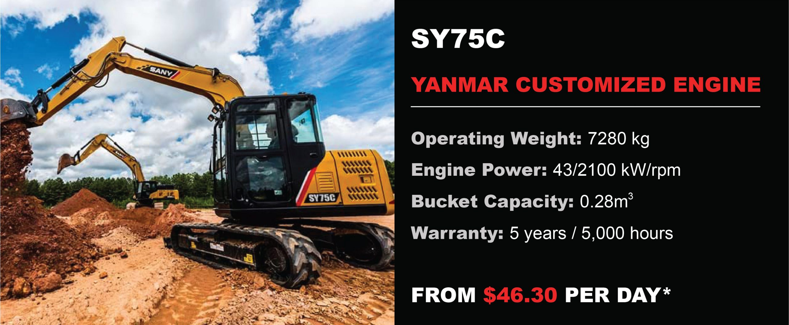 Sany excavator for sale Perth SY75C